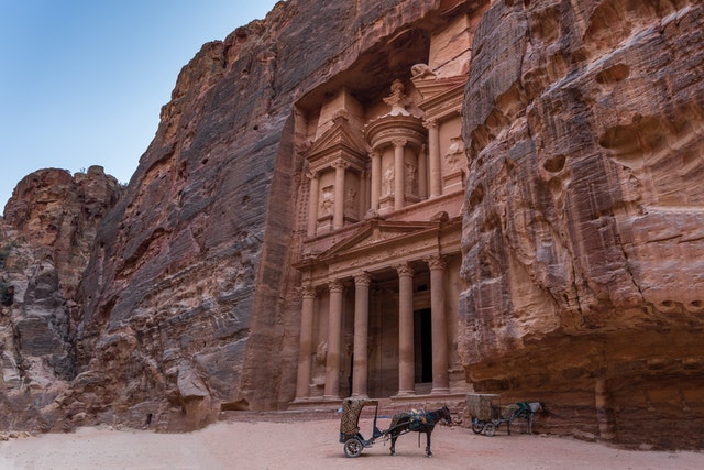 building carved out of the rock